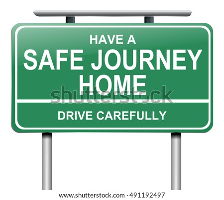 3D Illustration depicting a green road sign with a drive safely message.