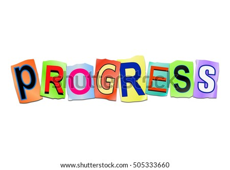 3d Illustration depicting a set of cut out printed letters arranged to form the word progress.