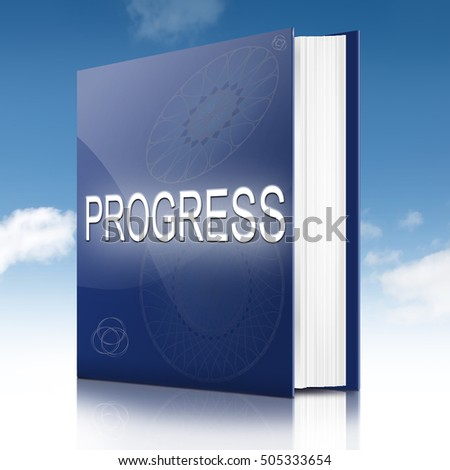 3d Illustration depicting a text book with a progress concept title. White background.
