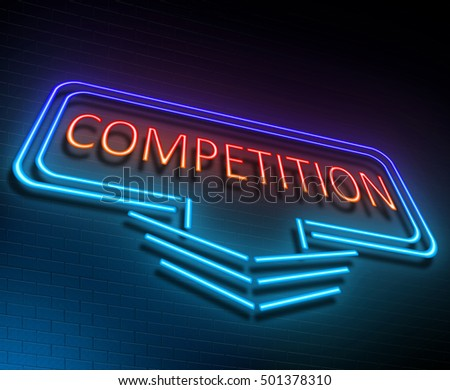 3d Illustration depicting an illuminated neon sign with a competition concept.