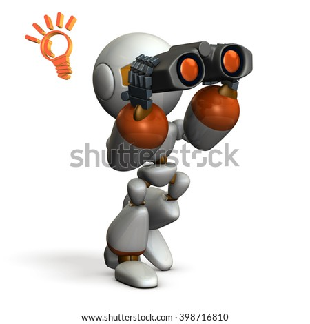 """3D illustration describe """"Robot, looking for something with binoculars"""". - stock photo"""