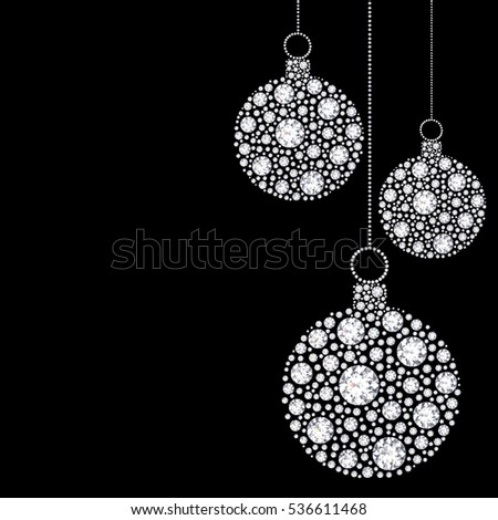 3D illustration diamond Christmas balls on a black background