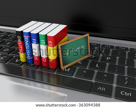 3d illustration. Dictionaries and blackboard on computer keyboard. E-learning. Languages learn and translate, education concept. - stock photo