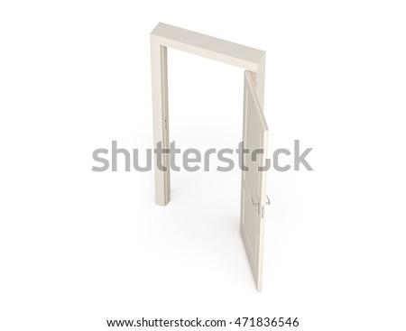 3D Illustration Door. Birdu0027s Eye View.