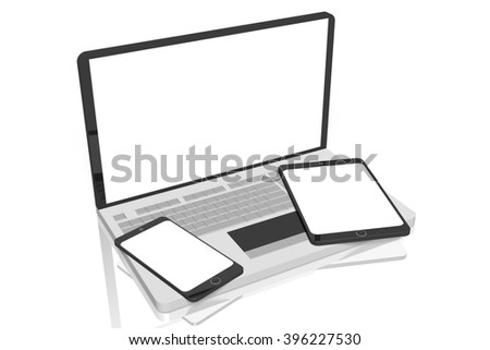 3D illustration - electronic devices (laptop, tablet, cell phone).