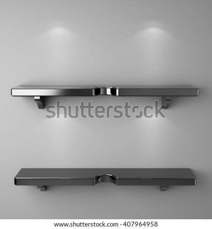 3D illustration , Empty black shelves on background with down-light - stock photo