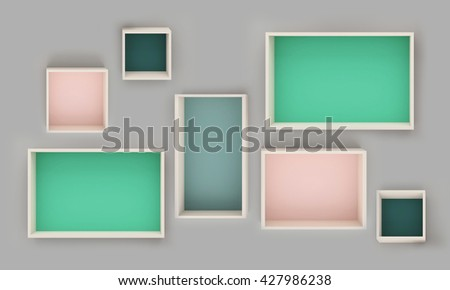 3D illustration , Empty colorful shelves on gray background,empty shelves top ready for product display montage - stock photo