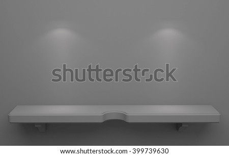 3D illustration , Empty gray shelves on background with down-light - stock photo
