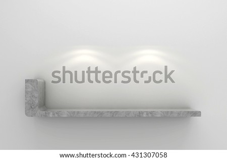 3D illustration , Empty gray shelves on  background with downlight,empty shelves ready for product display montage - stock photo