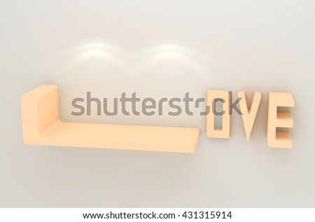 3D illustration , Empty love shelves on gray background with downlight,empty shelves ready for product display montage - stock photo