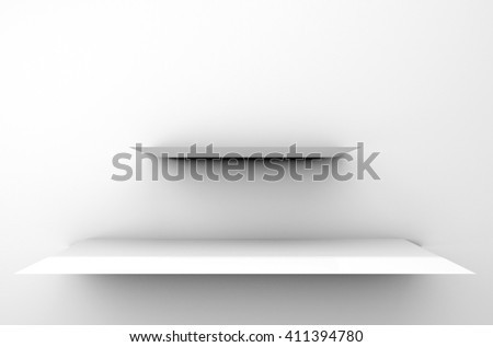 3D illustration, Empty modern white shelves on background, shelves top ready for product display montage - stock photo