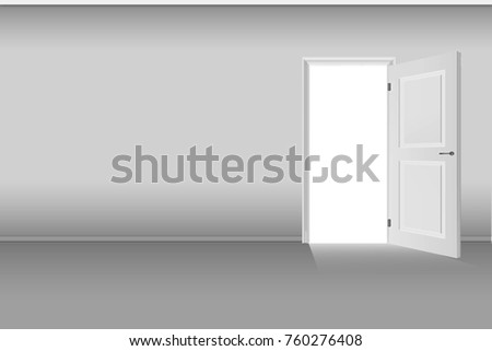 3D illustration, empty room with opened door.