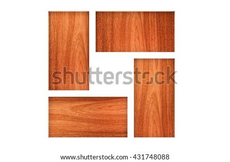 3D illustration,Empty Square Wood Shelves on blank background  - stock photo