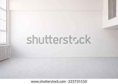 3D Illustration Empty white big room in loft for an office or workspace - stock photo