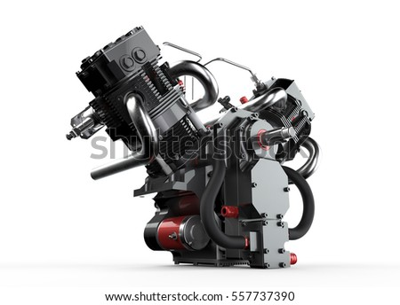 3D illustration, engine on a white background