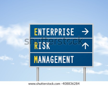 3d illustration enterprise risk management road sign isolated on blue sky