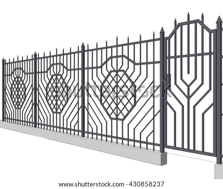 3d illustration,  fences