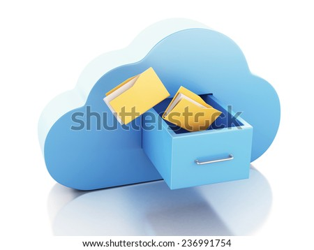 3d illustration. File storage in cloud. Cloud computing concept. - stock photo