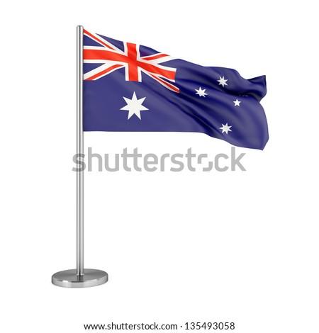 3d illustration. Flag of Australia isolated on white. - stock photo