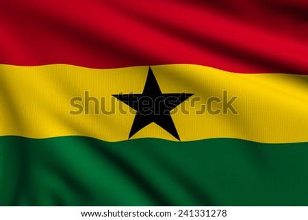 3d illustration flag of Ghana - stock photo