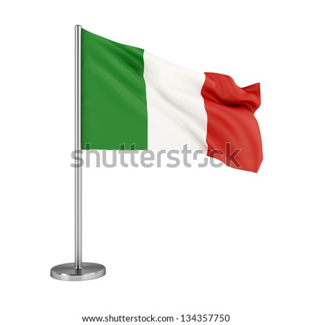 3d illustration. Flag of Italy isolated on white. - stock photo