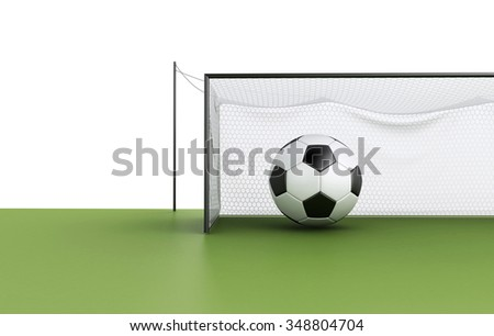 3d illustration. Football Goal and Soccer ball. Sports concept. Isolated white background - stock photo