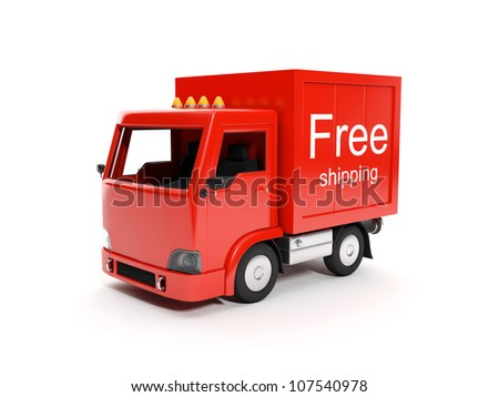 3d illustration: Free delivery of goods to any place - stock photo