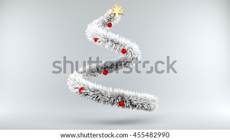 3d illustration frozen Christmas Tree on gray Background