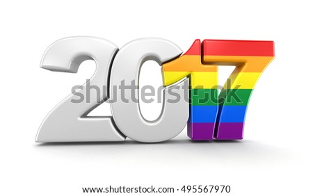 3D Illustration. Gay Pride Color  New Year 2017. Image with clipping path.