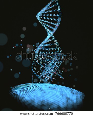 3D illustration. Genetic code DNA coming out of the fingerprint.