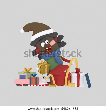 3d illustration. Girl opening gifts