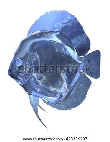 3d Illustration glass fish isolated on white background