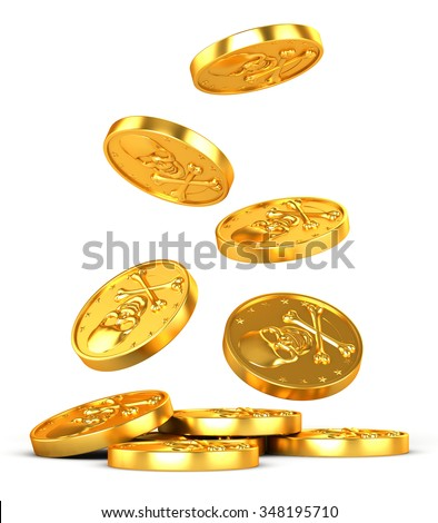 3d illustration. Gold coin with skull and crossbones. Pirate coin with the emblem. - stock photo