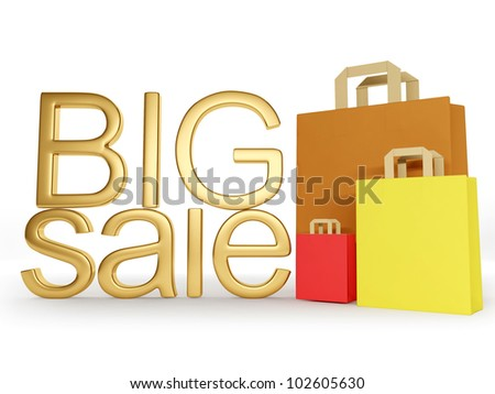 3d illustration: Gold letters big sale, big gifts - stock photo