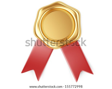 3d illustration Gold seal with red ribbon - stock photo