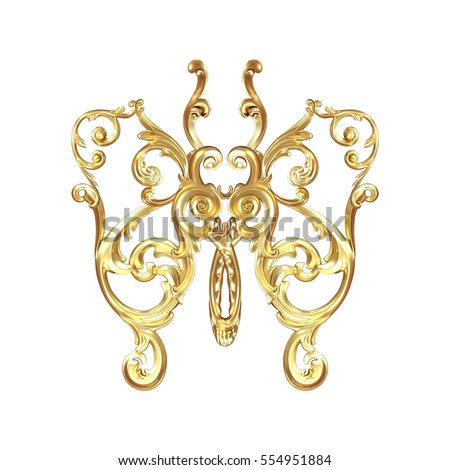 3d illustration golden butterfly on a white background