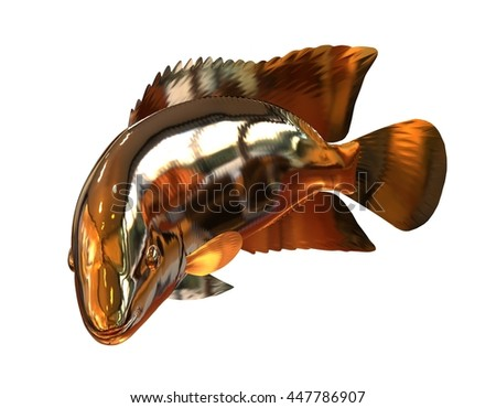3D Illustration Golden Fish