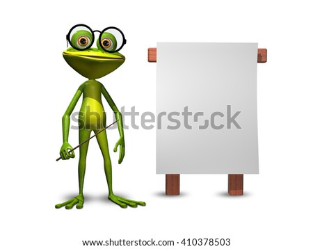 3d Illustration green frog with a pointer and a white background