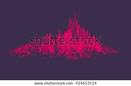 3D Illustration - Grid structure of a mountain - stock photo