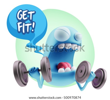 3d Illustration GYM Fitness Character Emoticon Expression