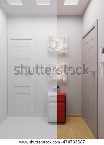 3d illustration hallway interior design. Modern studio apartment in the Scandinavian minimalist style