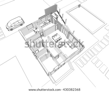 3d illustration, house building sketch