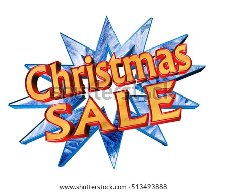 3d illustration. Icon with text Christmas sale on a white background