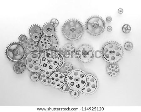 3d illustration: Ideas, a group of gears in the form of the brain, the work of ideas - stock photo