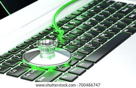 3D illustration image Green Stethoscopes Doctor place on keyboard computer meaning healthy computer  notebook is good safe from virus computer