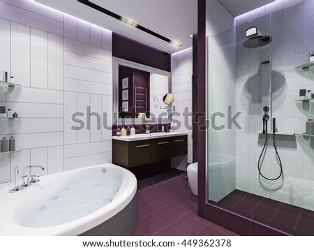 3d illustration interior design of a bathroom with purple tiles in a modern style