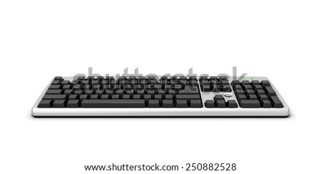 3d illustration keyboard isolated on white baclground. Keyboard without signs.