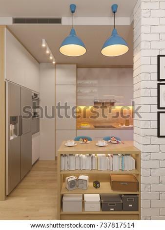 3d illustration kitchen interior design in white color. Modern studio  apartment in the Scandinavian minimalist