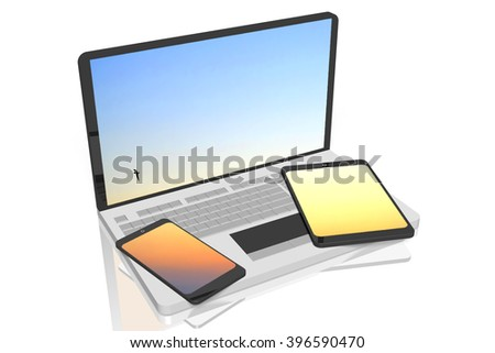 3D illustration - laptop, smart phone and tablet.