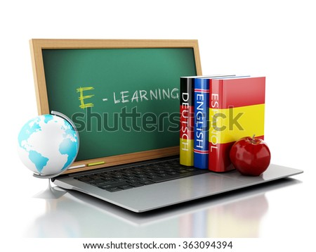3d illustration. Laptop with chalkboard and Dictionaries. Languages learn and translate, education concept. Isolated white background - stock photo